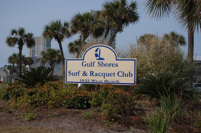 Gulf Shores Surf and Racquet Condo Sign