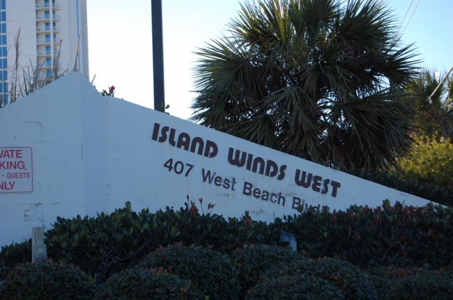 Island Winds West Gulf Shores AL Condo Sign and Landscaping